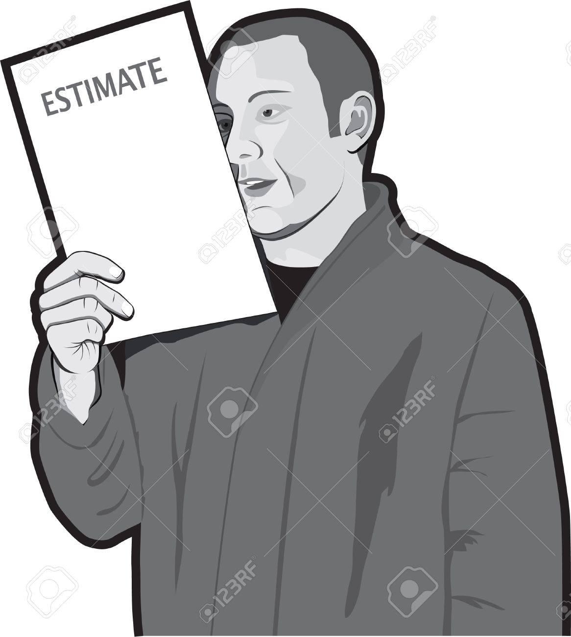 Man reading estimate Stock Vector - 13598445