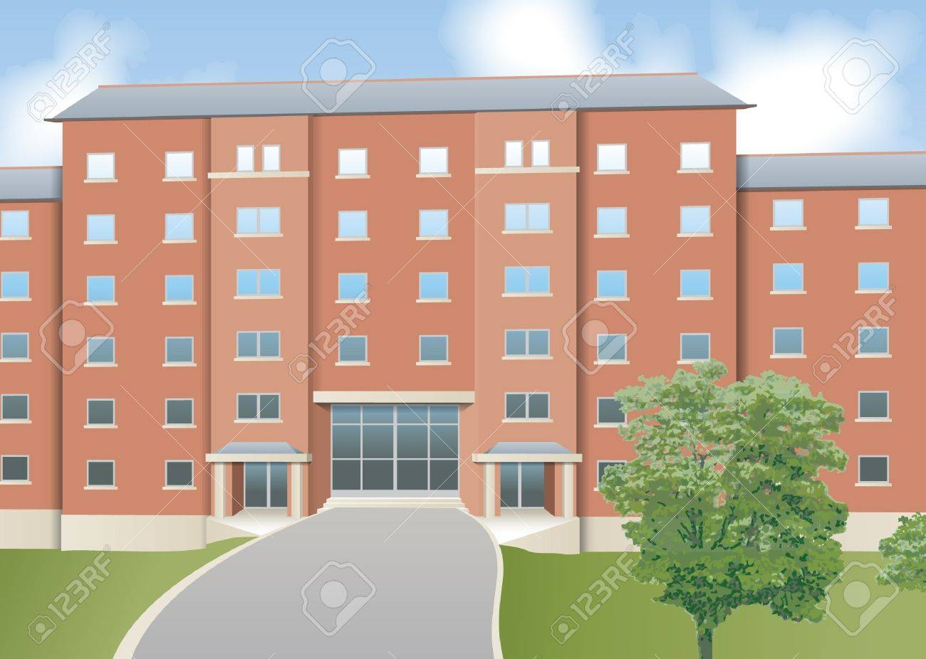 Modern flats, front elevation Stock Vector - 13598458
