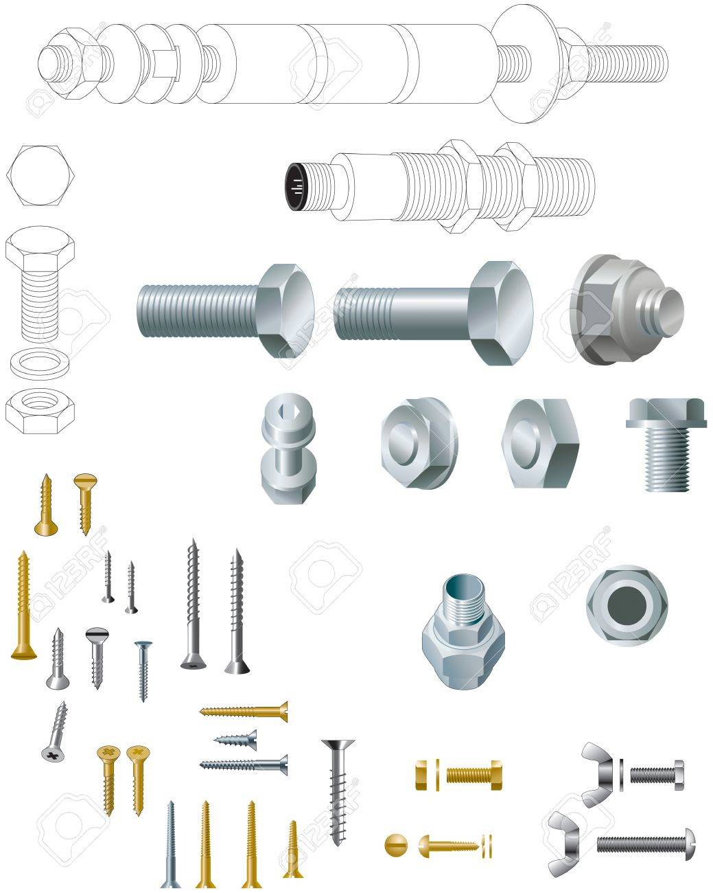 Nuts, bolts and screws, steel and brass