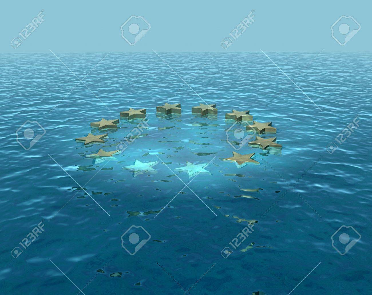 Europe sinking, going under, euro difficulties Stock Photo - 13964085