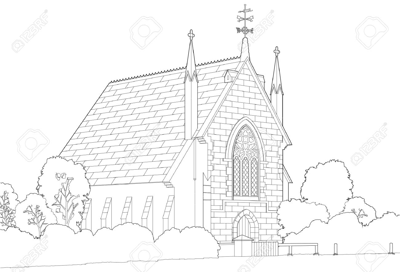 Country Church Line Drawing Stock Vector