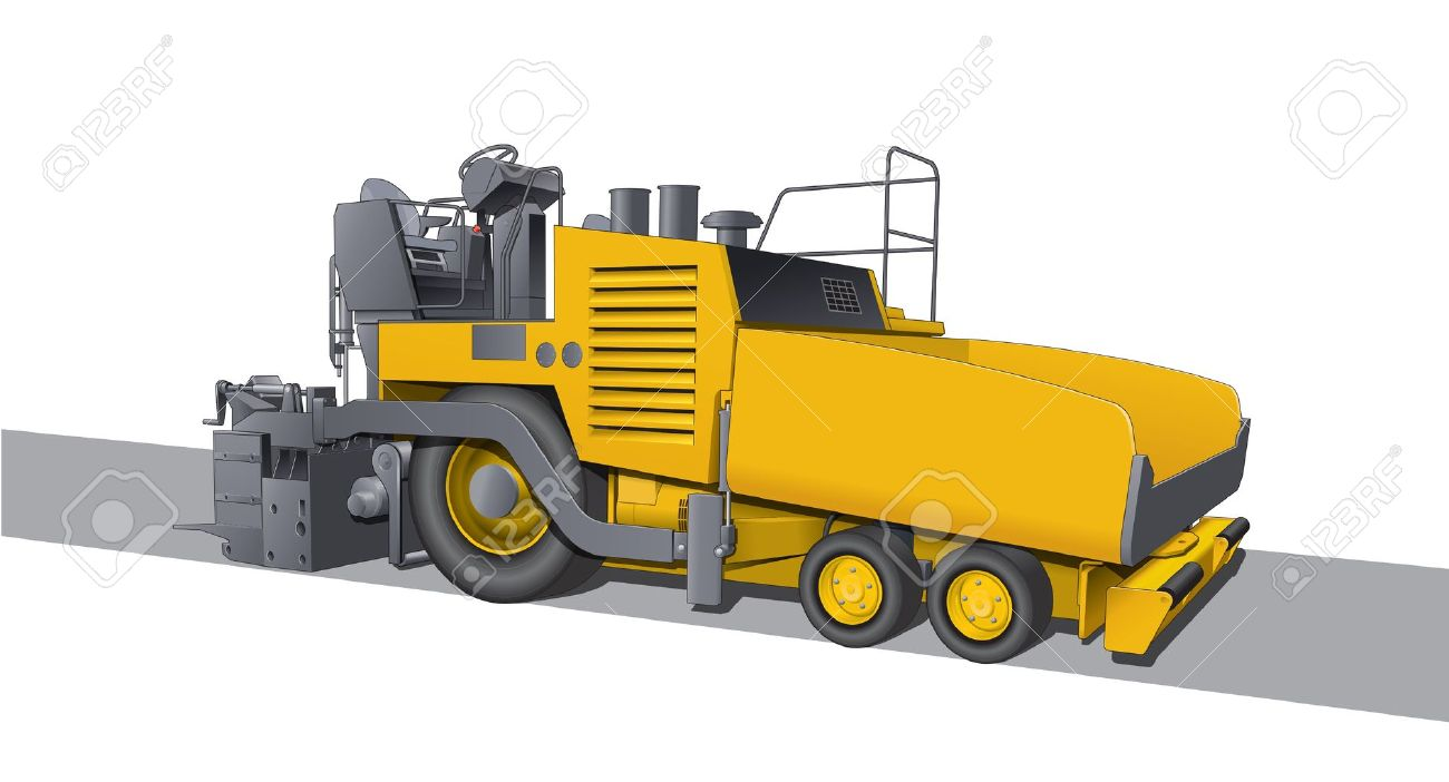 road laying asphalt machine stock vector 14001577