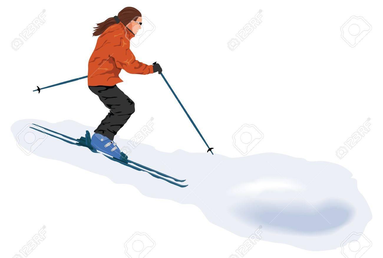 ゲレンデのスキーヤーのイラスト素材ベクタ Image 17150290
