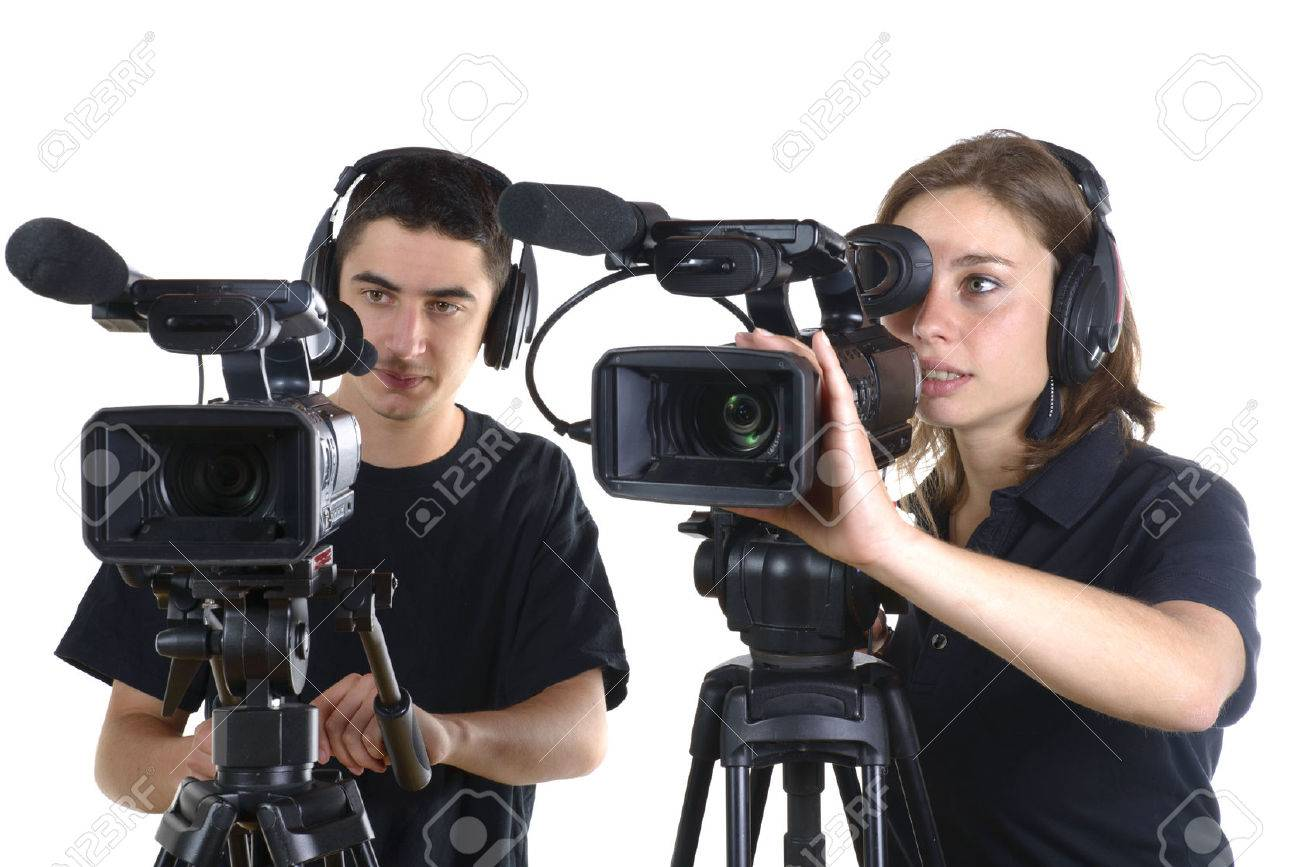 young man and young woman with video cameras on white background - 28796633
