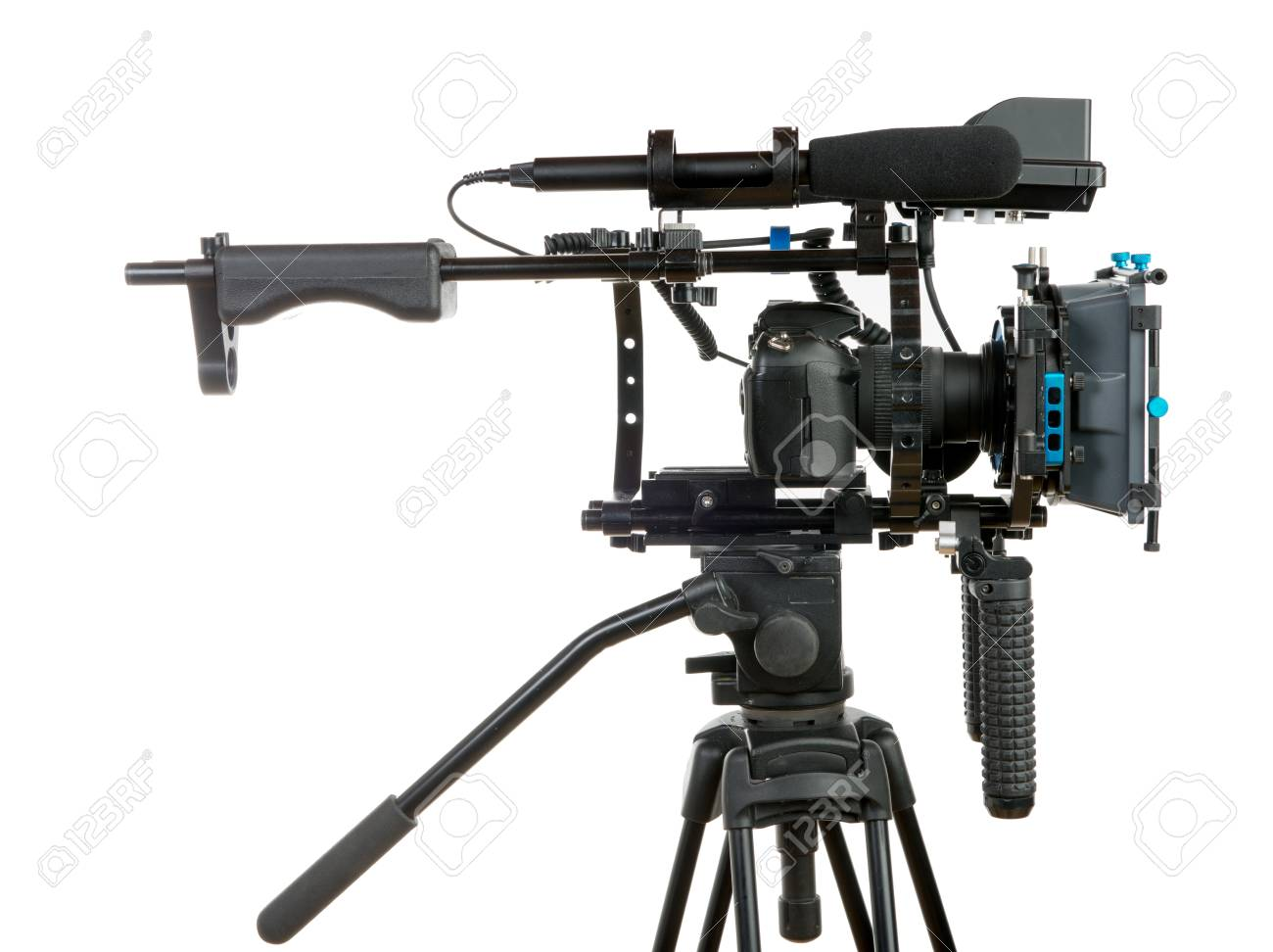 Professional video camera on the white background - 35897235
