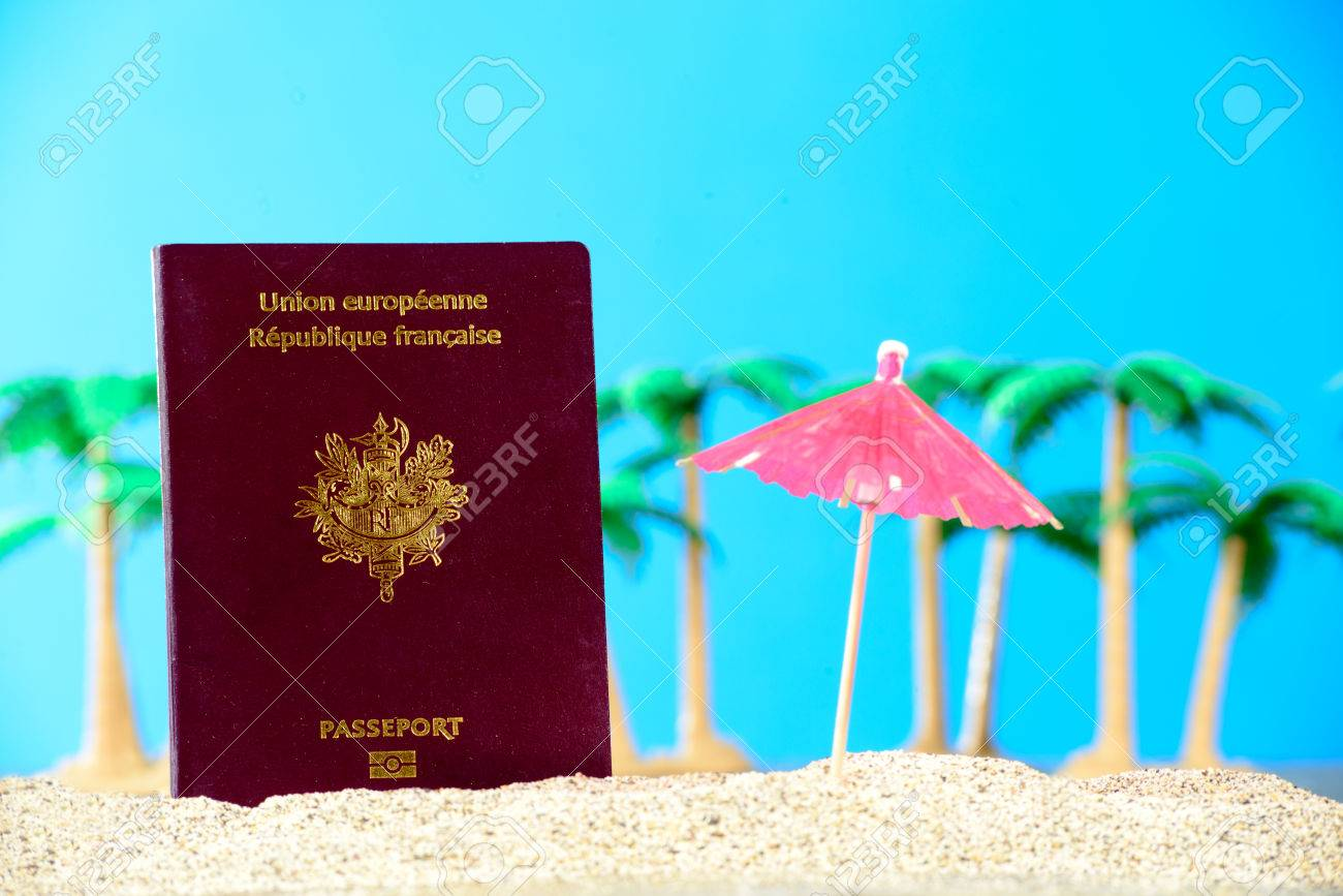 French passport in the sand of a beach with palm trees - 38733599