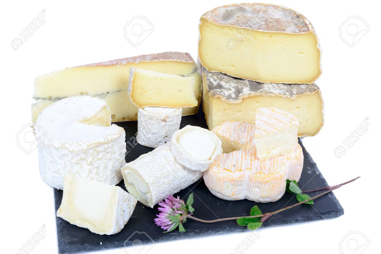 different French cheeses on a plate - 41388529