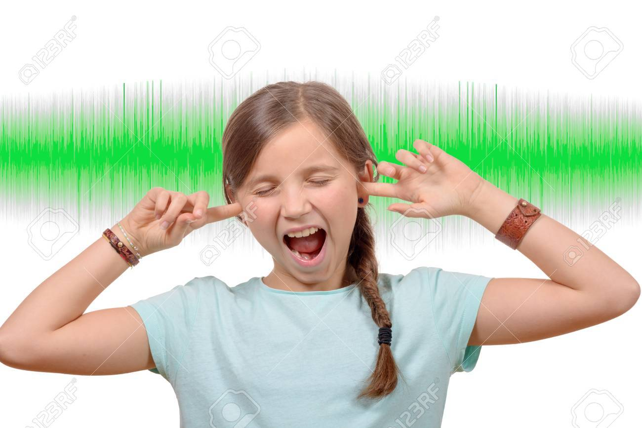 A little girl covers his ears, sound green wave on background - 48567855
