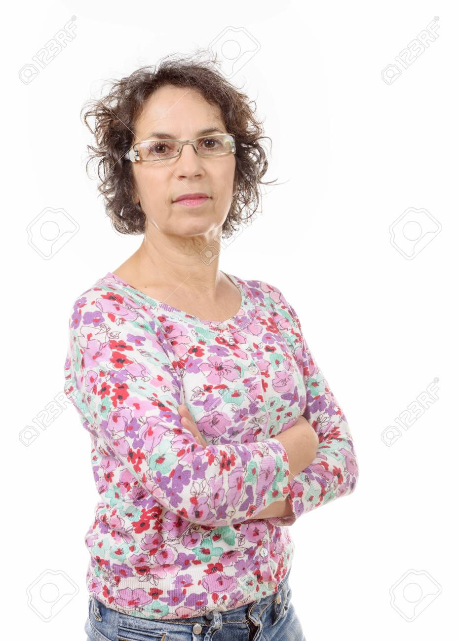 a portrait of happy aged woman over white background - 50135039