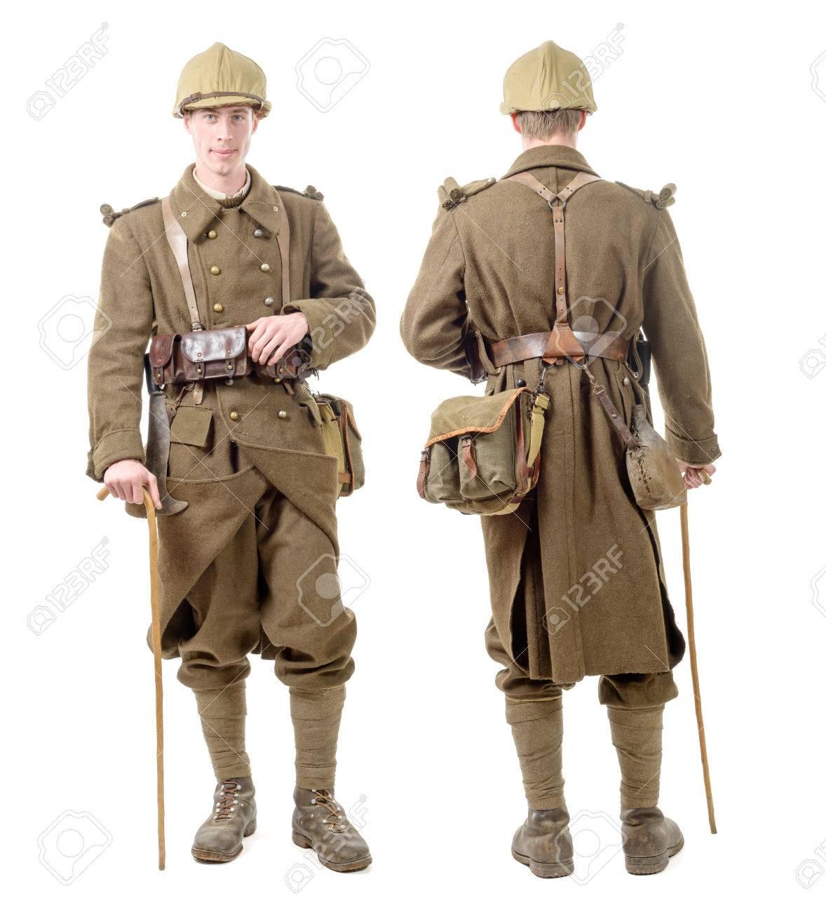 1940 年代の制服、フランスの兵士は前面と背面から見た の写真素材 ...