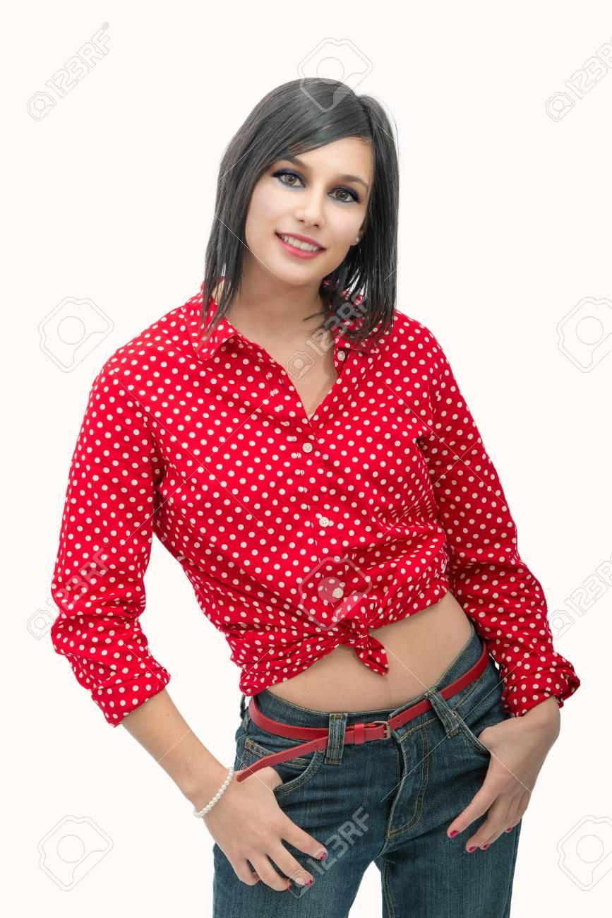 roja mujer de y Foto camisa una con joven archivo Retrato de bella morena  O7wwXBx faeef41742e