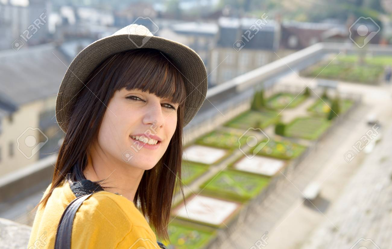 Stock Photo Young Beautiful Brunette Girl Visits A French City Pau