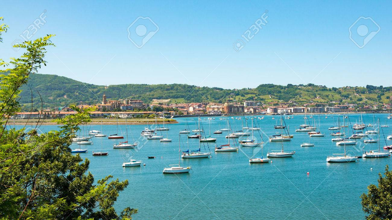 a view of the bay of Hendaye, Pyrenees - 80822467