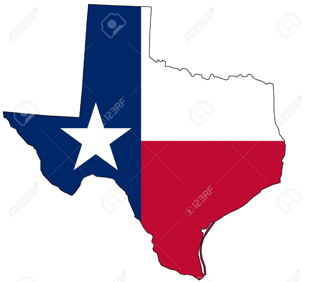 Map Of Texas In National Colors Stock Photo Picture And Royalty - Mapa de texas