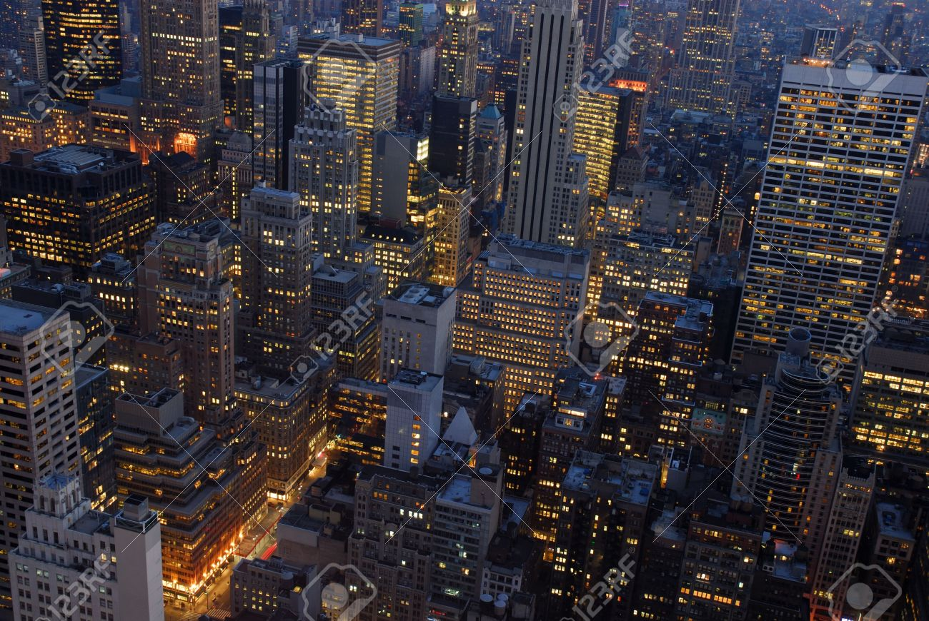 Aerial View Over New York City At Night Stock Photo Picture And