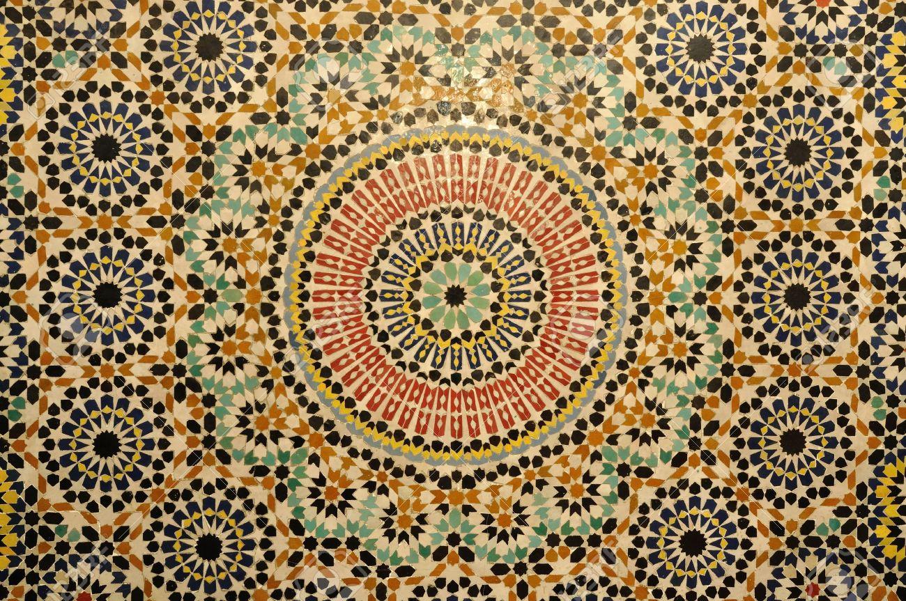 Oosterse mozaïek decoratie in marokko royalty vrije foto plaatjes