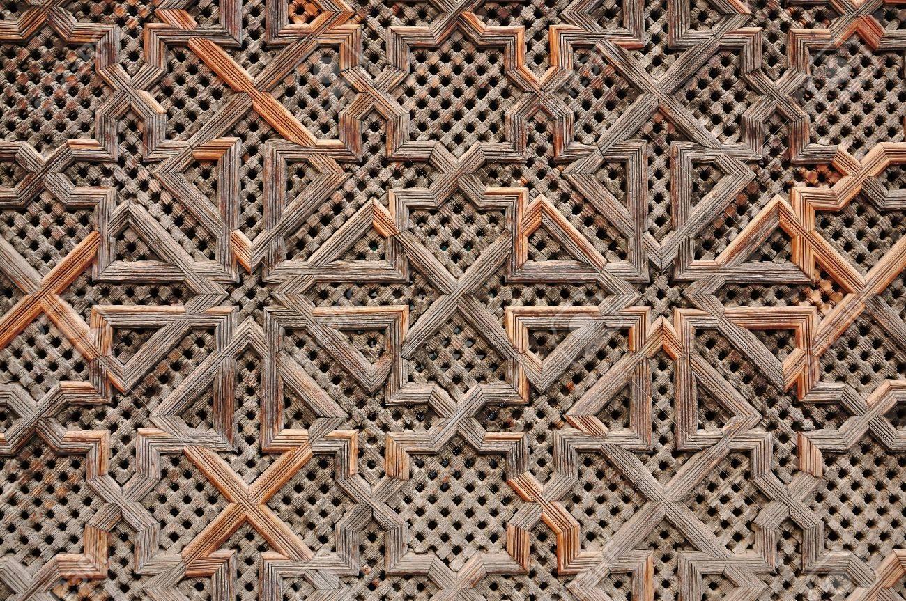 Houten oriëntaalse decoratie in marokko royalty vrije foto