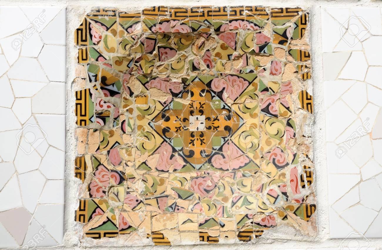 Mosaic in Park G�ell, Barcelona Spain Stock Photo - 4841512