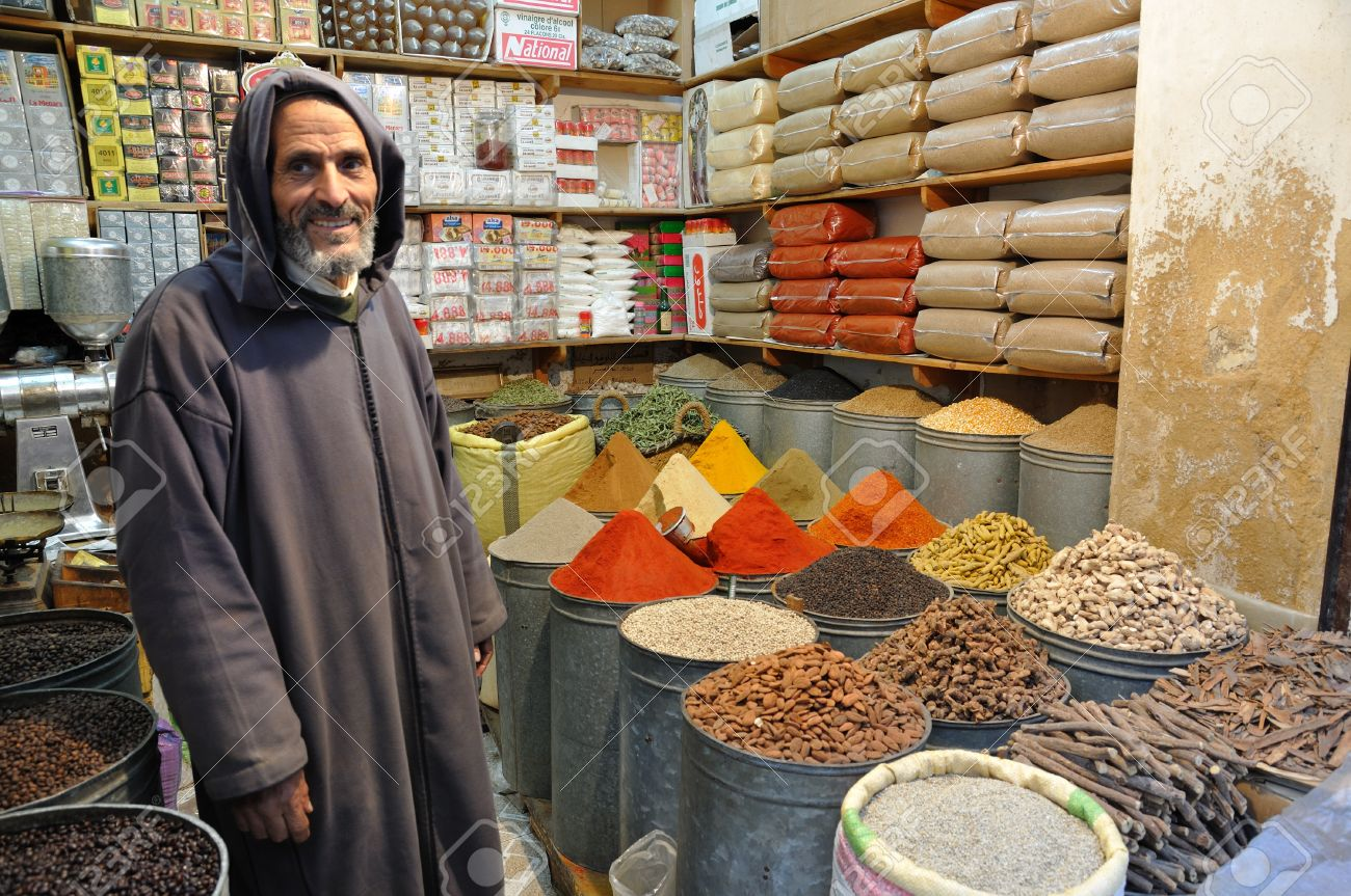 Spices seller in the medina of Fes, Morocco. Photo taken at 20th of November 2008 Stock Photo - 8644437