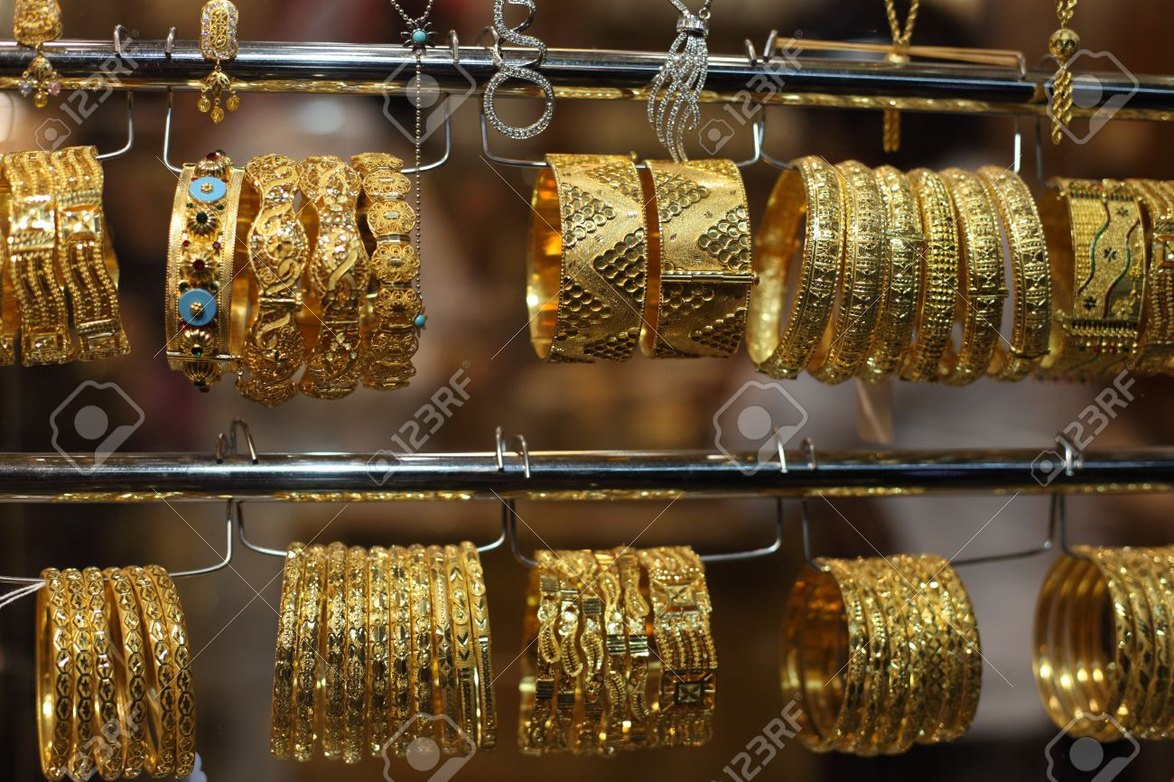 Jewelry For Sale In The Gold Souq Of Doha Qatar Stock Photo