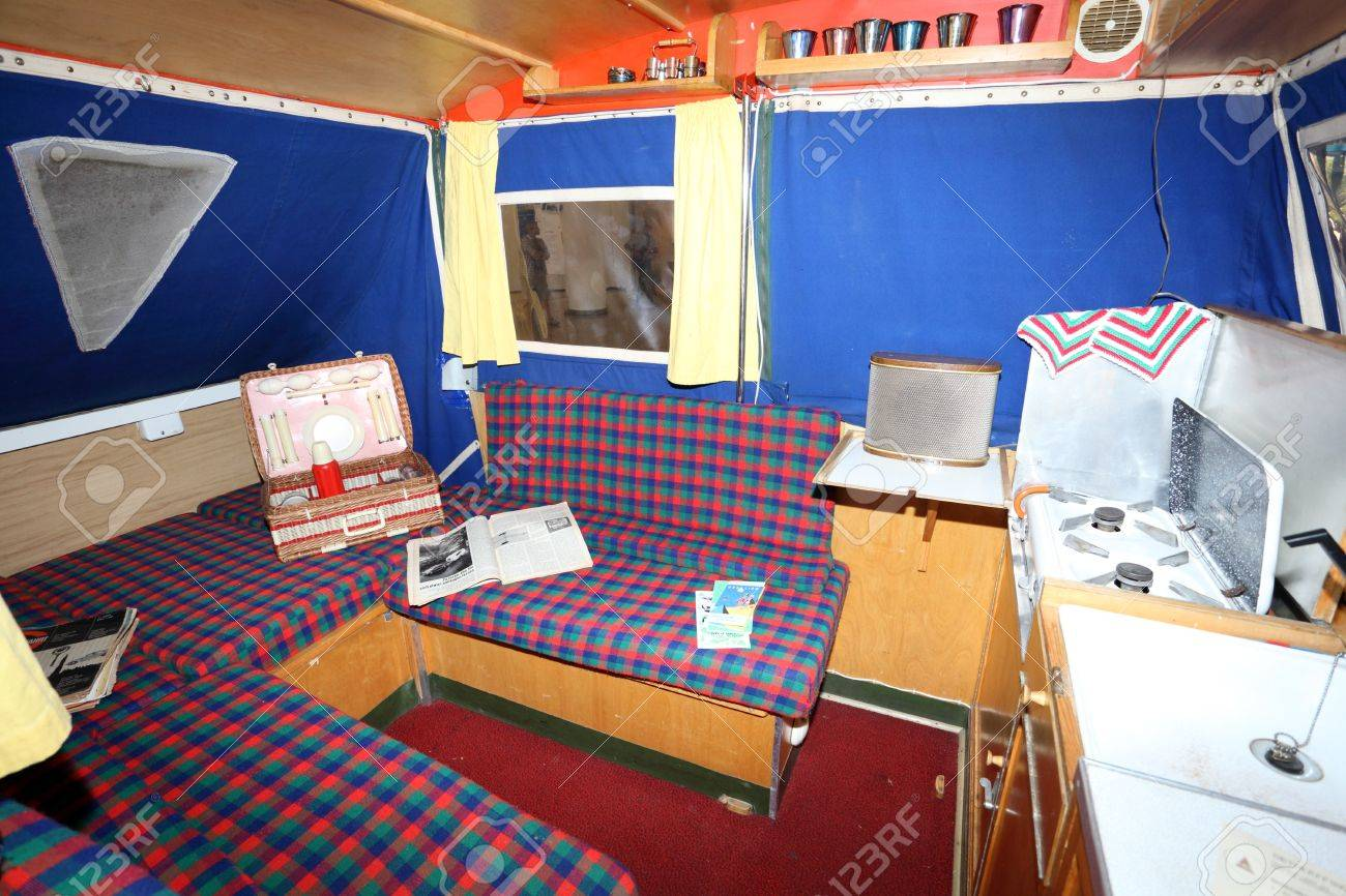 duesseldorf august 27 interior of the old dethleffs camper
