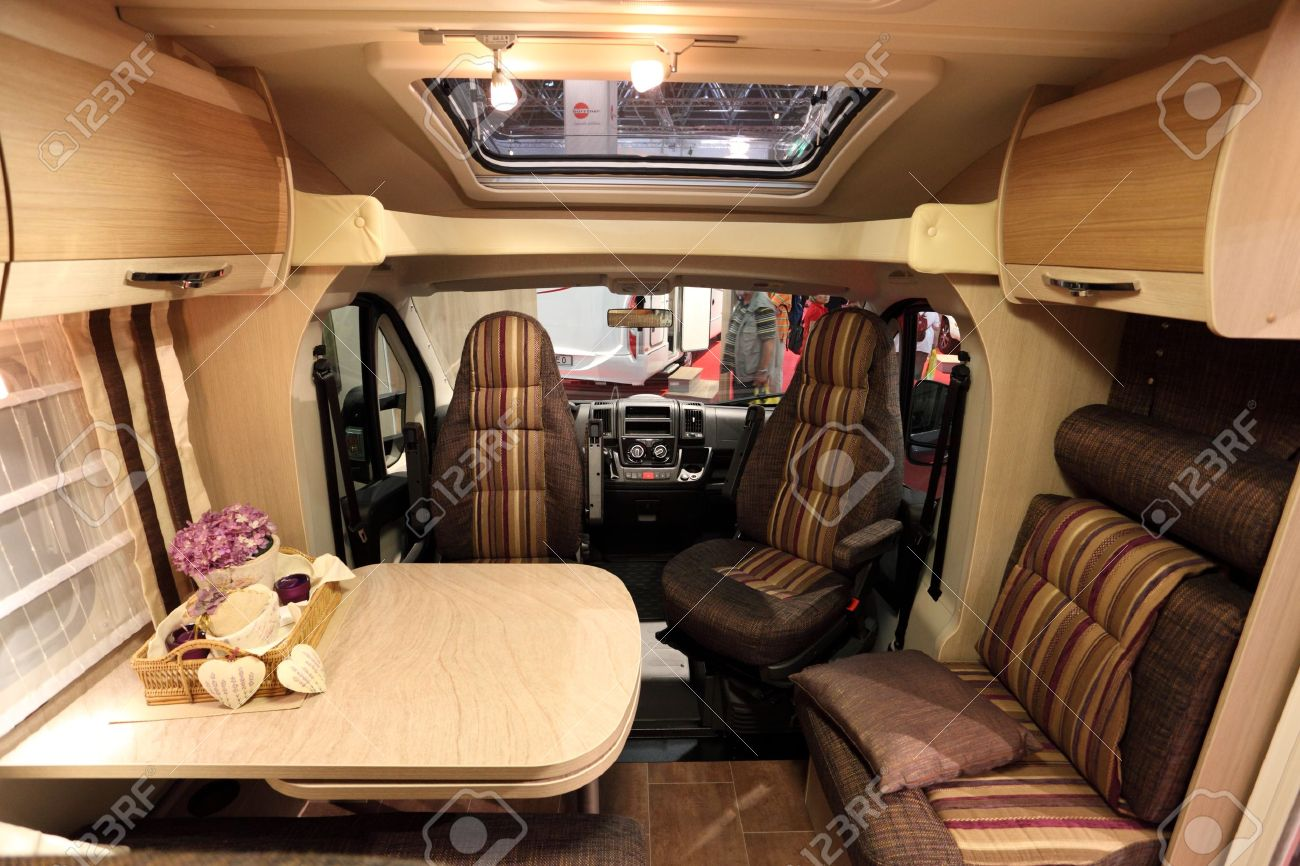 DUSSELDORF - AUGUST 27: Interior of a modern camper van at the Caravan Salon Exhibition 2012 on August 27, 2012 in Dusseldorf, Germany Stock Photo - 14985967