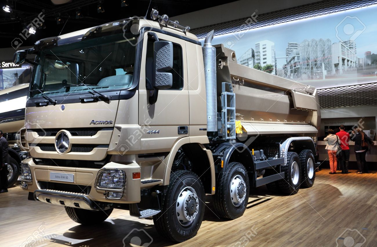 hannover - sep 20: new mercedes benz actros 4144 ak truck at