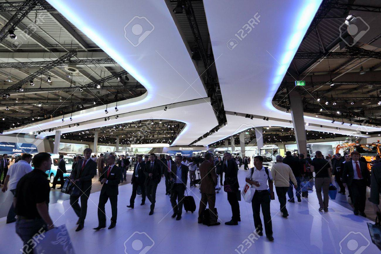 HANNOVER - SEP 20: Visitors at the International Motor Show for Commercial Vehicles on September 20, 2012 in Hannover Germany Stock Photo - 15337515