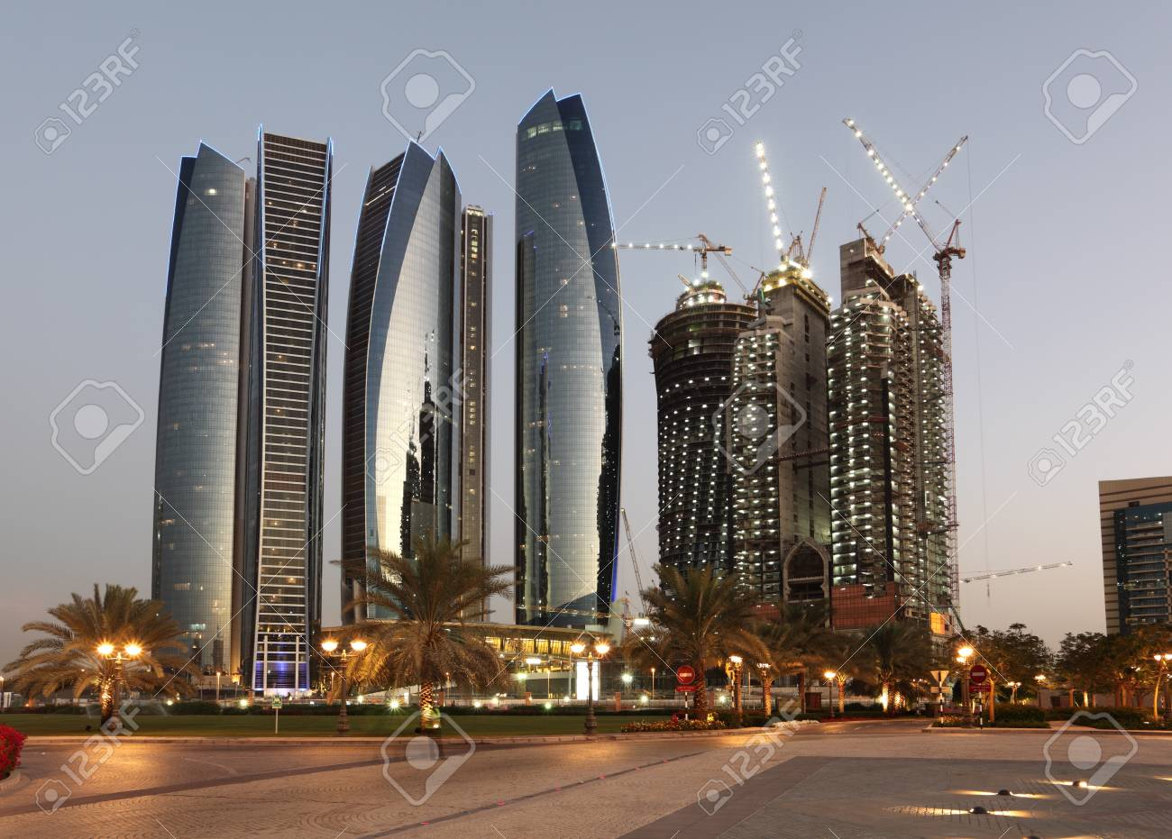 Skyscrapers in Abu Dhabi at dusk, United Arab Emirates Stock Photo - 15735306