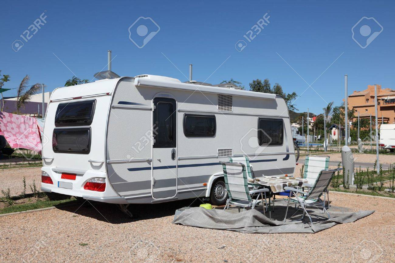 Caravan on a camping site in Spain Stock Photo - 16210150
