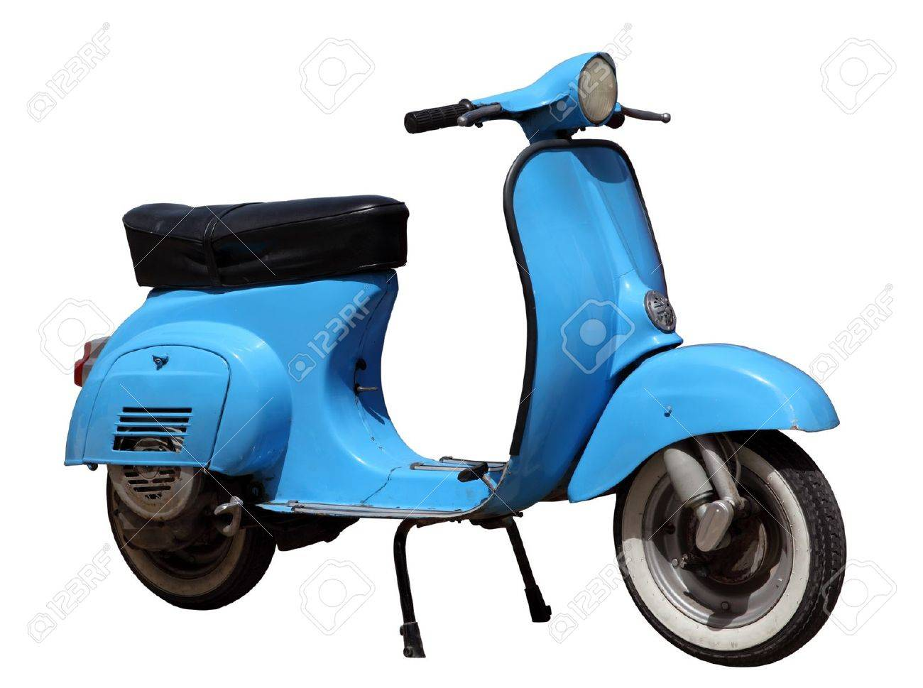 Blue vintage scooter isolated over white background Stock Photo - 16605650