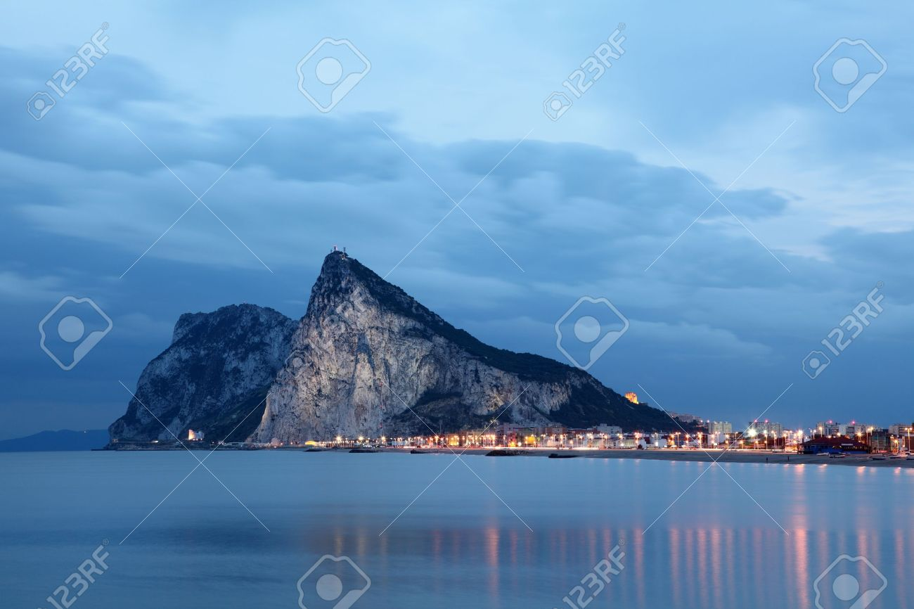 The Rock of Gibraltar at dusk Stock Photo - 19532700