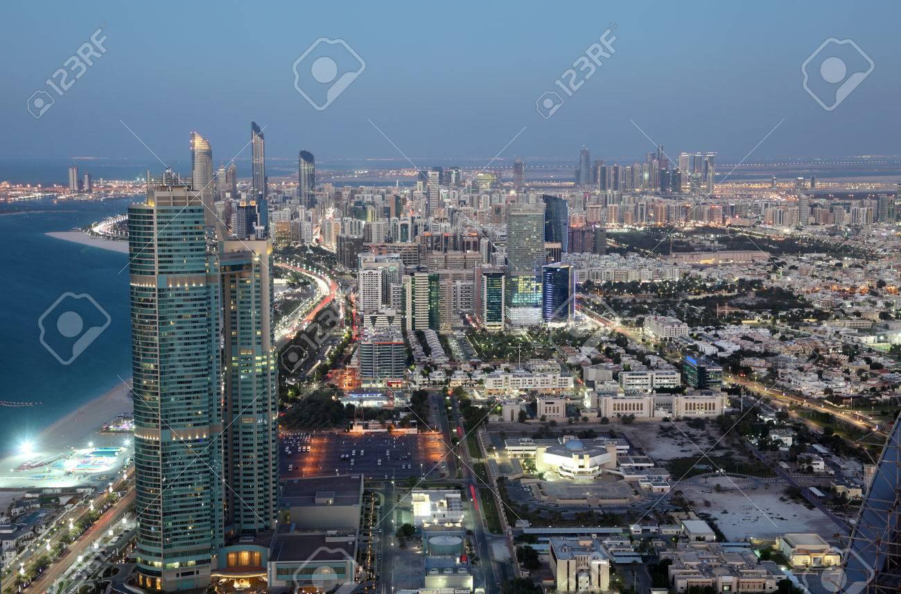 City of Abu Dhabi at dusk, United Arab Emirates Stock Photo - 25093026