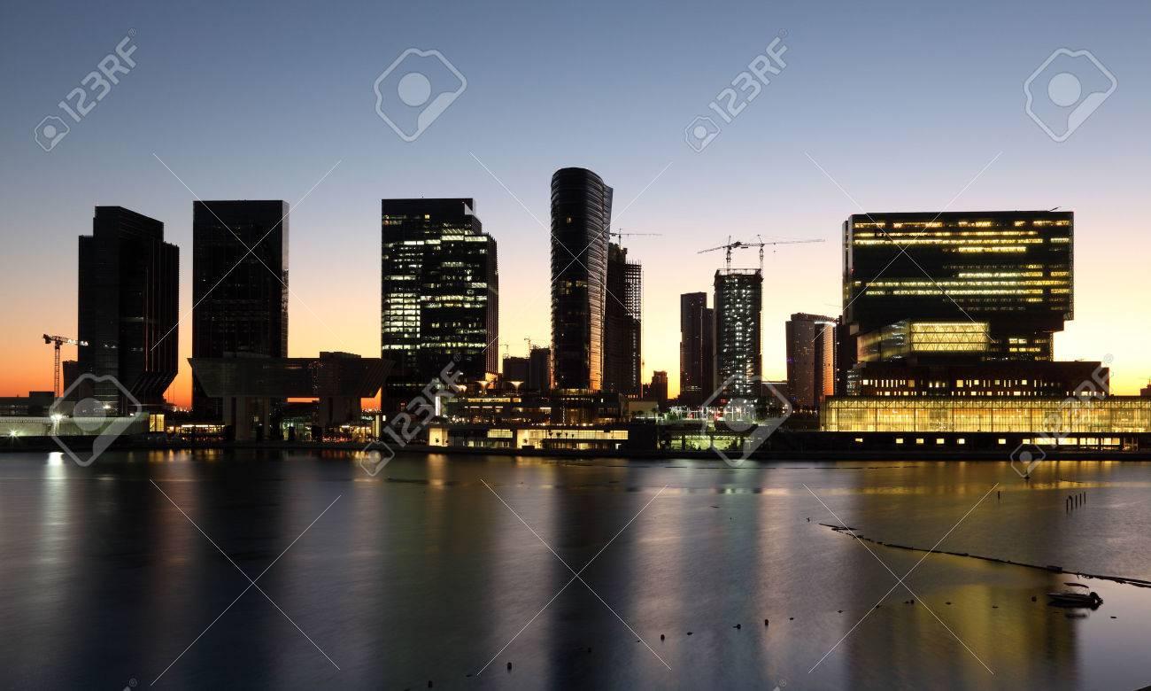 Al Maryah Island skyline at dusk. Abu Dhabi, United Arab Emirates Stock Photo - 25102883