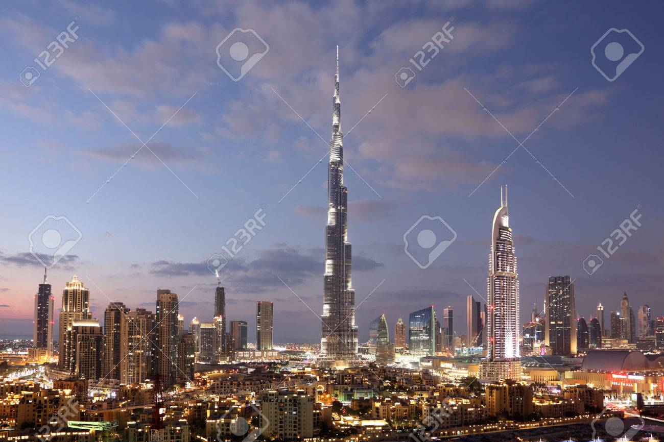Burj Khalifa and Dubai Downtown at dusk. United Arab Emirates Stock Photo - 25091985