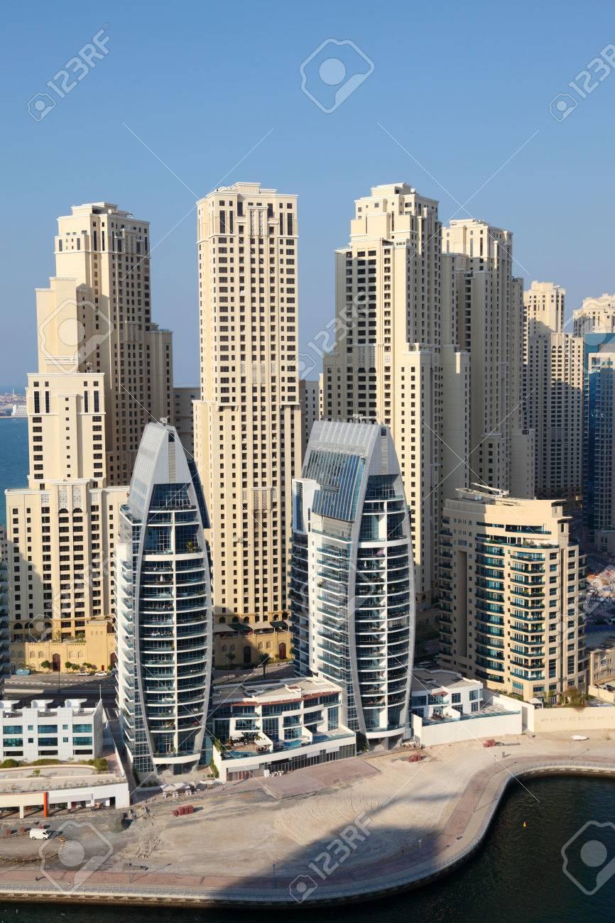 dubai marina edificios emiratos rabes unidos foto de archivo