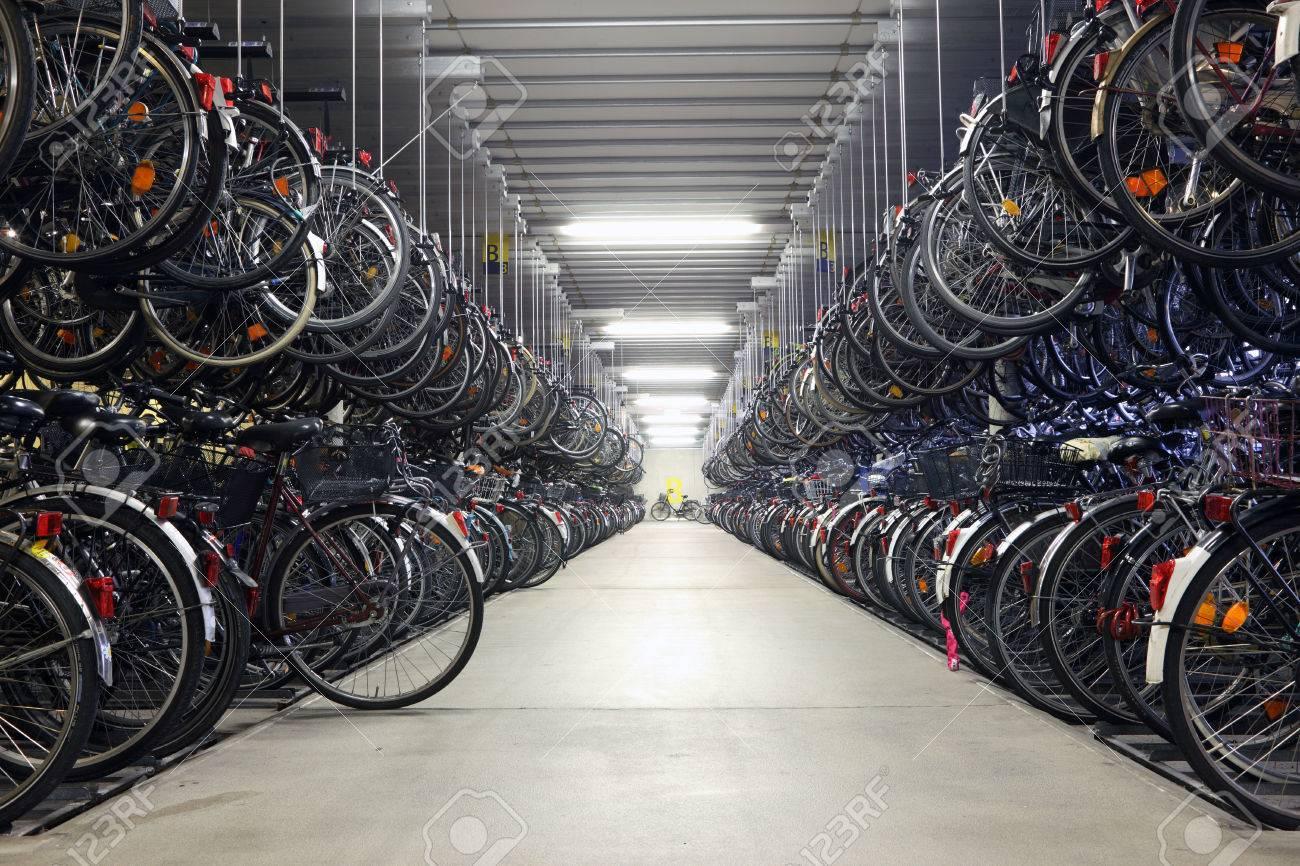 Bicycle Garage Bicycle Garage In Munsternorth Rhinewestphalia Germany Stock