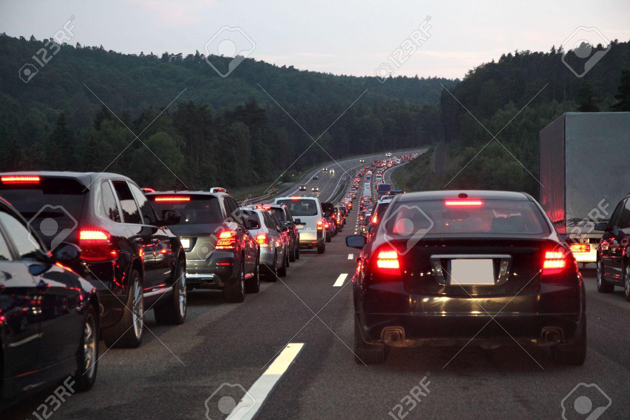 Traffic jam on German highway at night Stock Photo - 29986020
