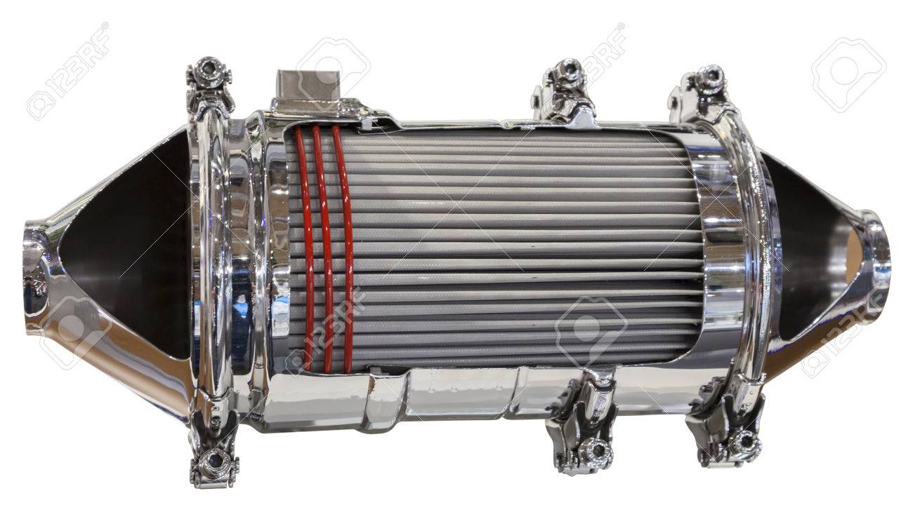 Cross section of a catalytic converter and particle filter of a diesel engine Stock Photo - 32360972