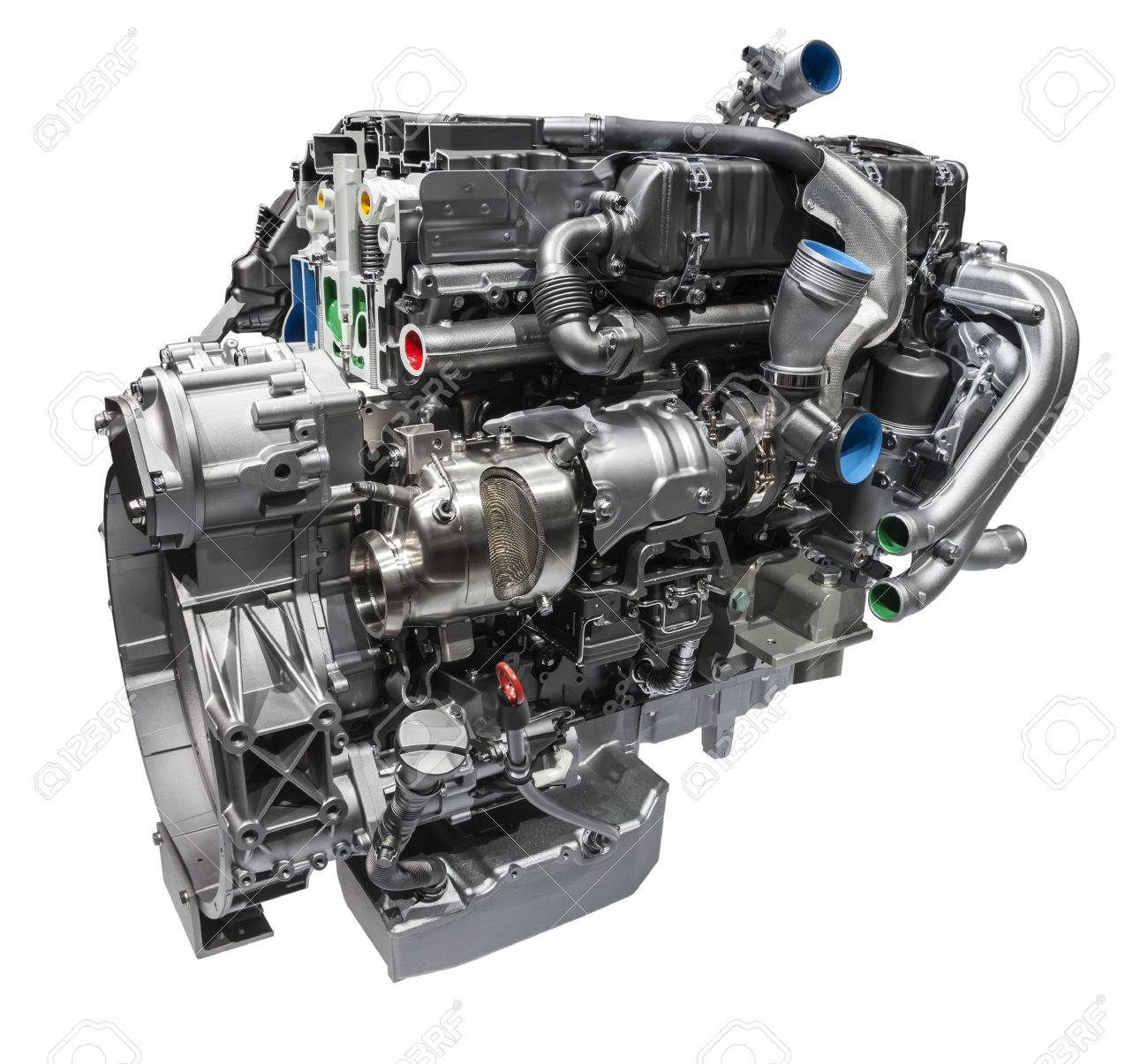 Modern truck diesel engine isolated on white background Stock Photo - 32364233