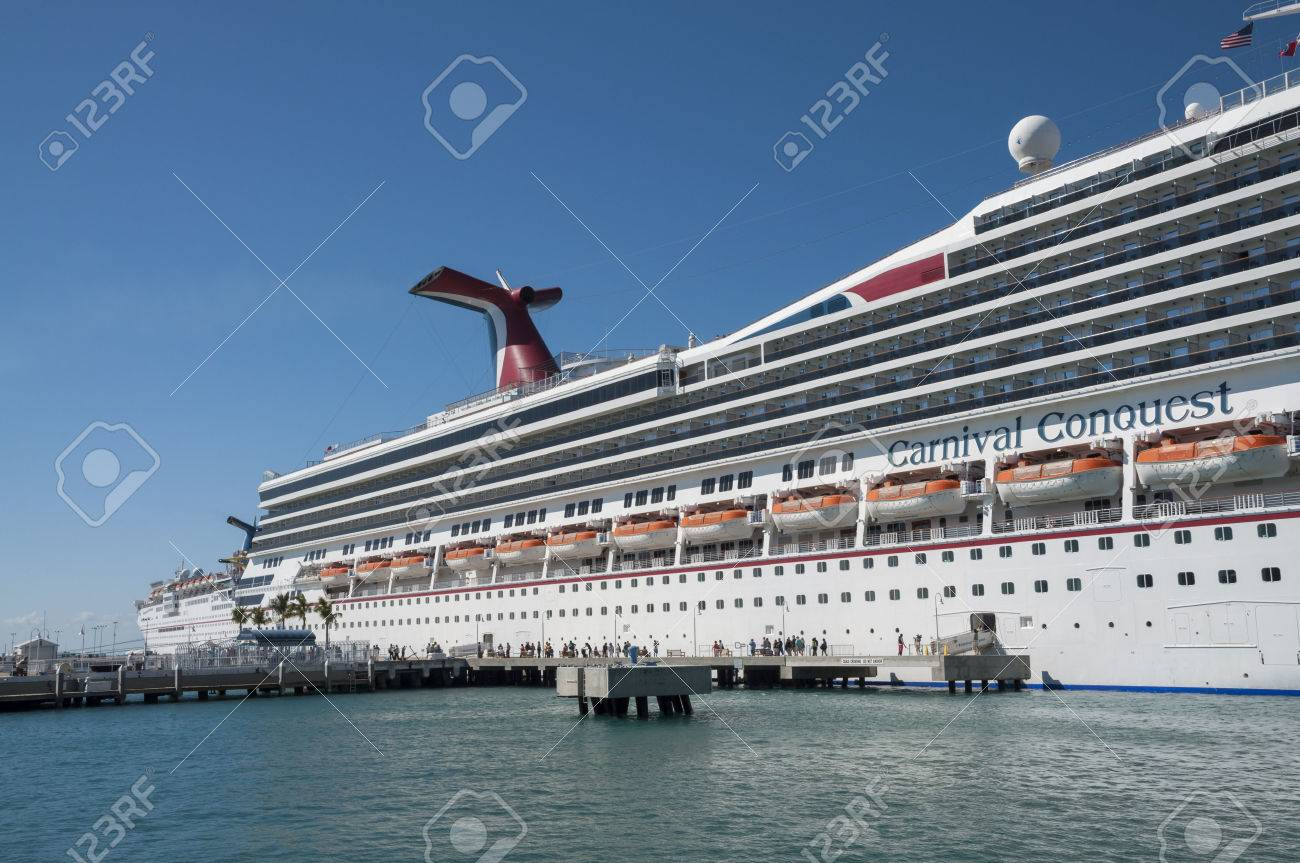 Carnival Conquest Cruise Ship Anchors In Key West Florida USA - Cruise ship key west