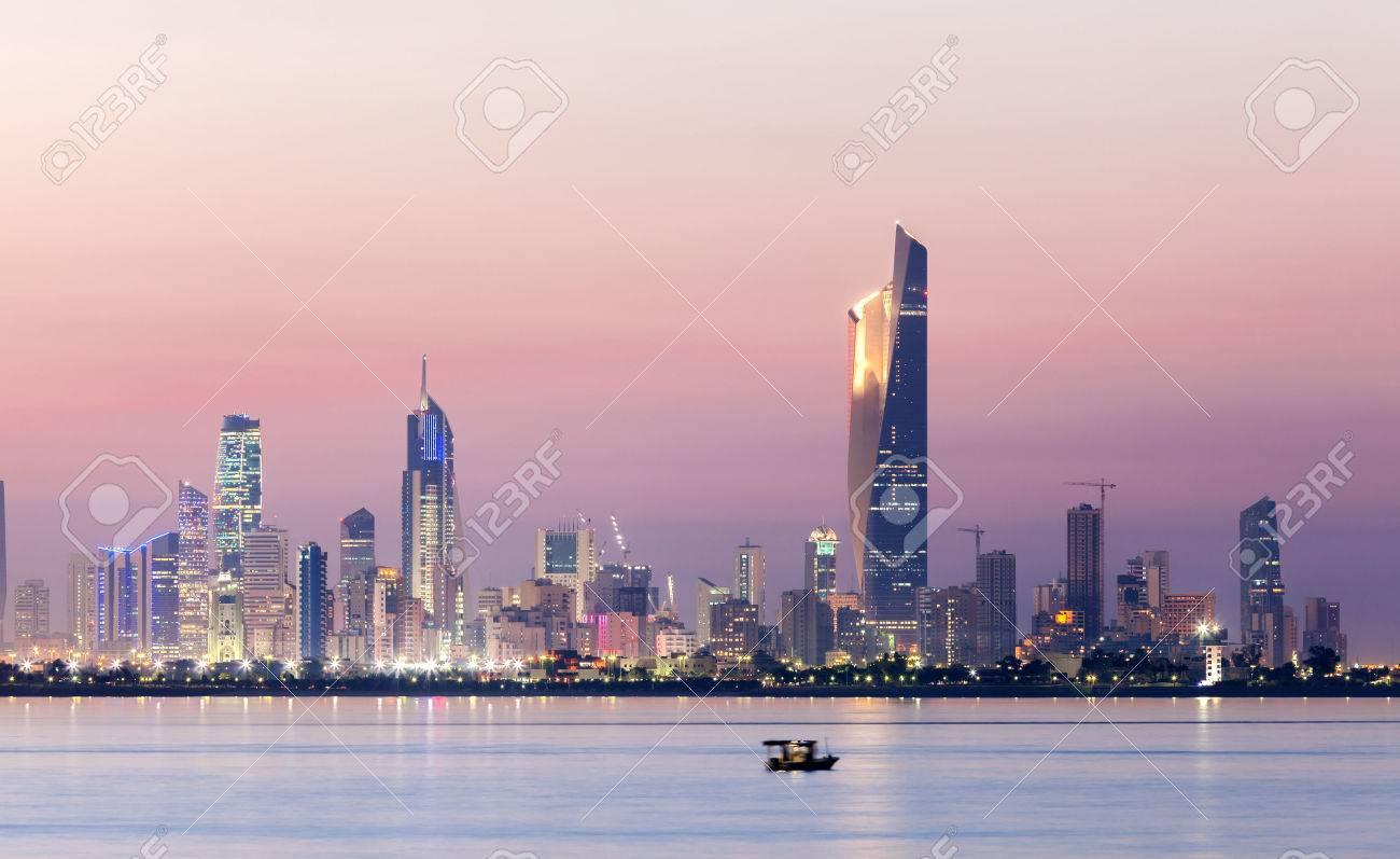 Skyline of Kuwait city at night Stock Photo - 35278449
