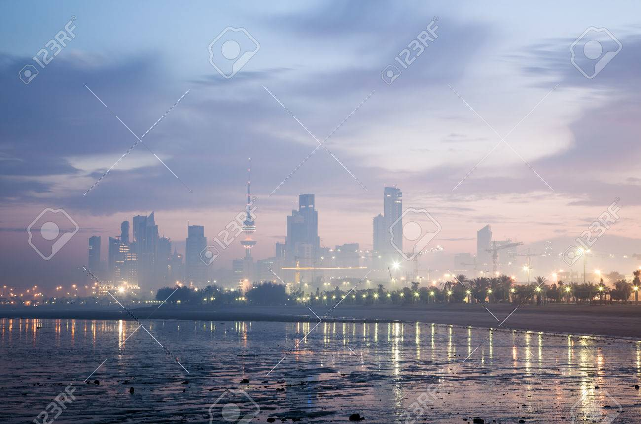 Skyline of Kuwait City at dawn. Arabia, Middle East Stock Photo - 35653902