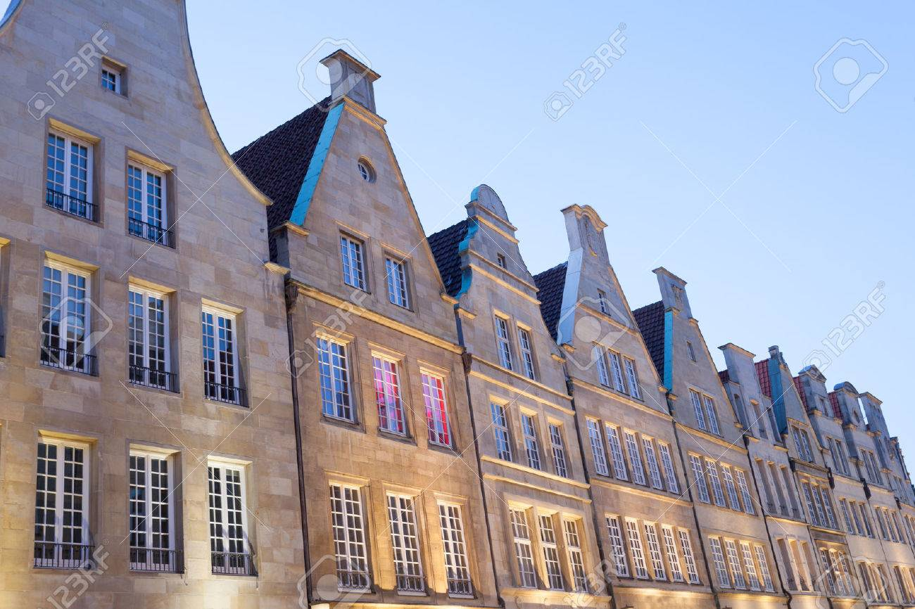 Historic buildings in the old town of Muenster, North Rhine Westphalia, Germany Stock Photo - 39035385