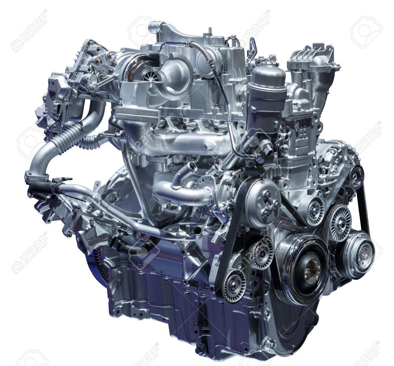 Moderne Kompakte Turbodiesel-Auto-Motor Isoliert Auf Weiß ...