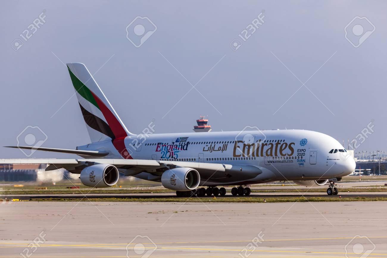 Frankfurt Deutschland 3 Oktober Emirate Airbus A380 800 Am