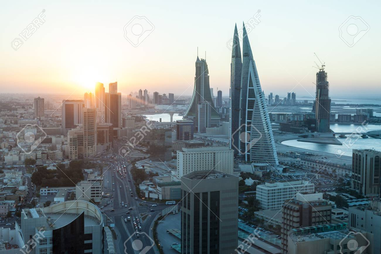 High angle view of Manama City at sunset. Kingdom of Bahrain, Middle East Stock Photo - 50582667