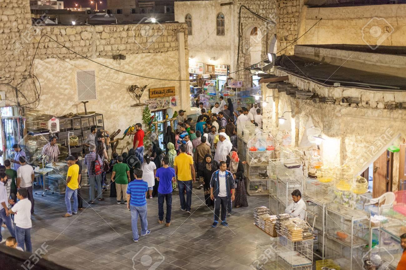 DOHA, QATAR - NOV 19: Qatari people shopping at the traditional