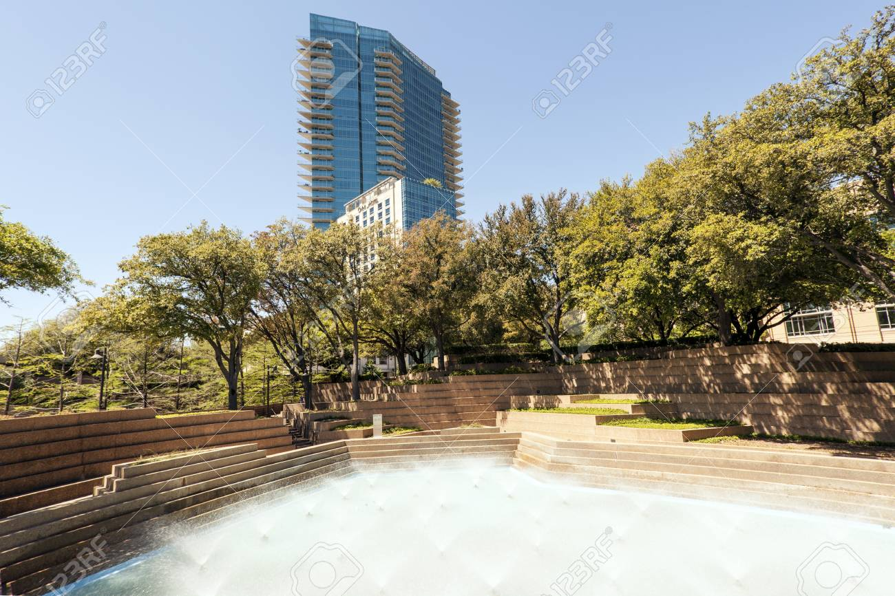 FORT WORTH, TX, USA - APR 6: Water Gardens In The City Of Fort ...