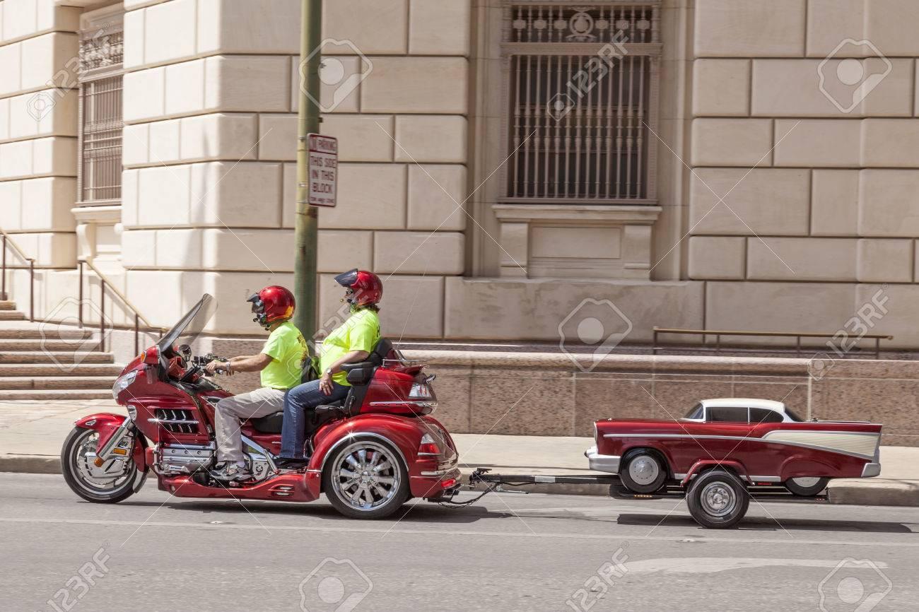 SAN ANTONIO, USA - APR 11: Couple on the Honda Goldwing trike